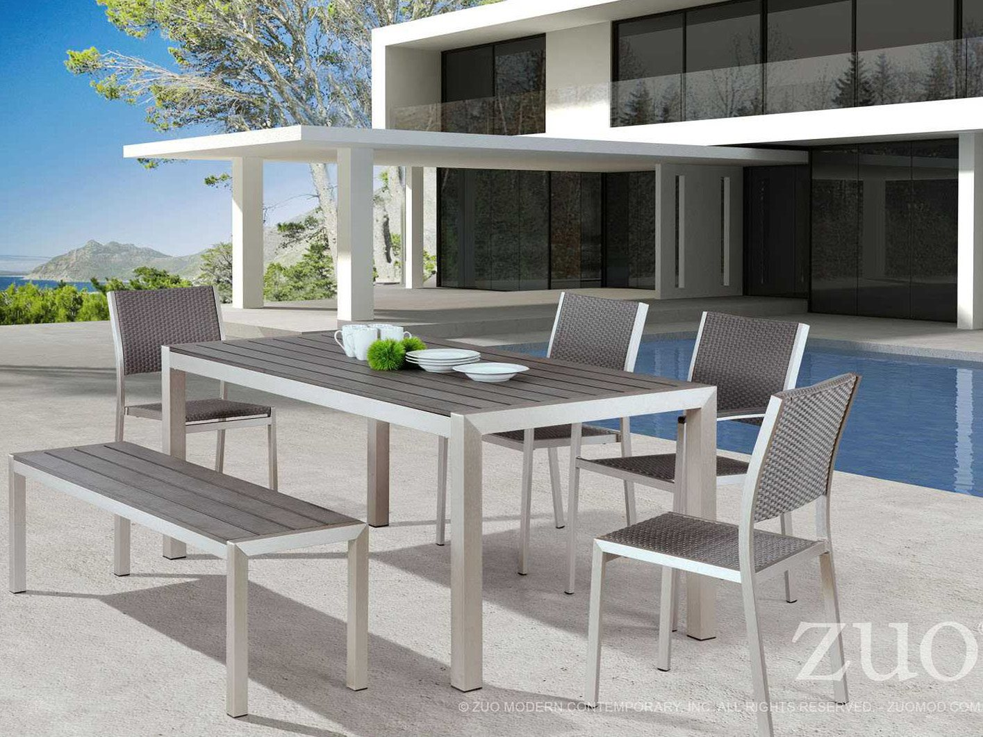 Zuo outdoor metropolitan aluminum faux wood dining set for Outdoor lanai furniture