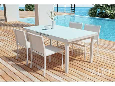 Zuo Outdoor Mayakoba Aluminum Mesh Dining Set In White