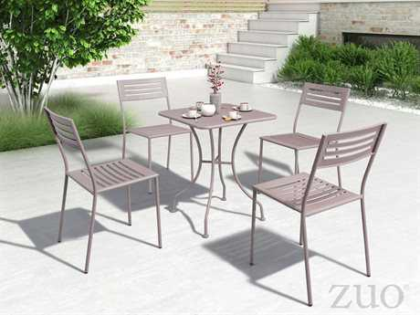 Zuo Outdoor Wald Steel Dining Set in Taupe