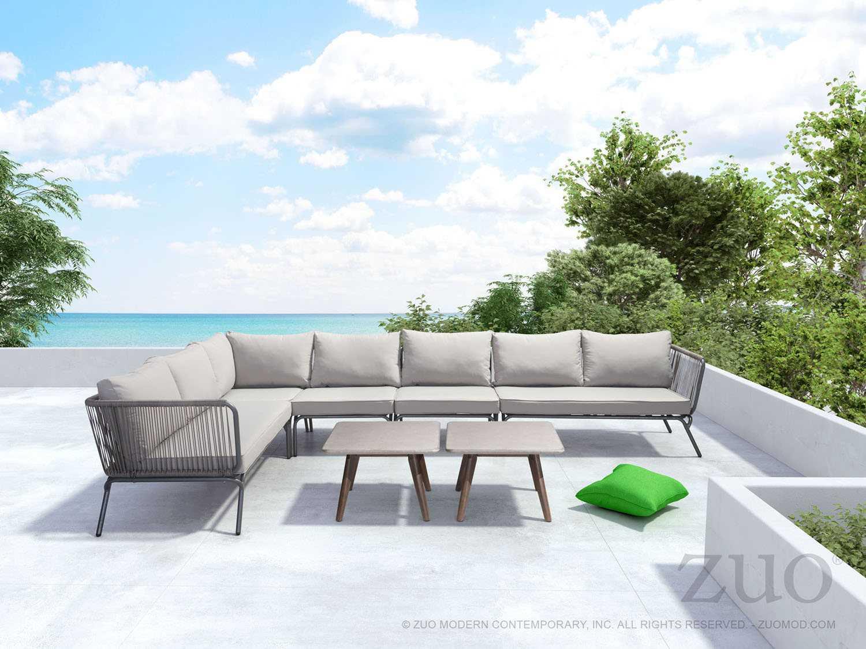 Zuo Outdoor Pier Aluminum Wicker Sectional Lounge Set
