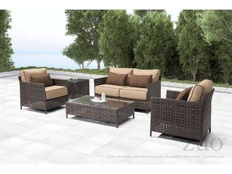 Zuo Outdoor Pinery Aluminum Wicker Lounge Set