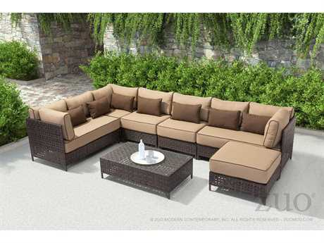 Zuo Outdoor Pinery Aluminum Wicker Sectional Lounge Set