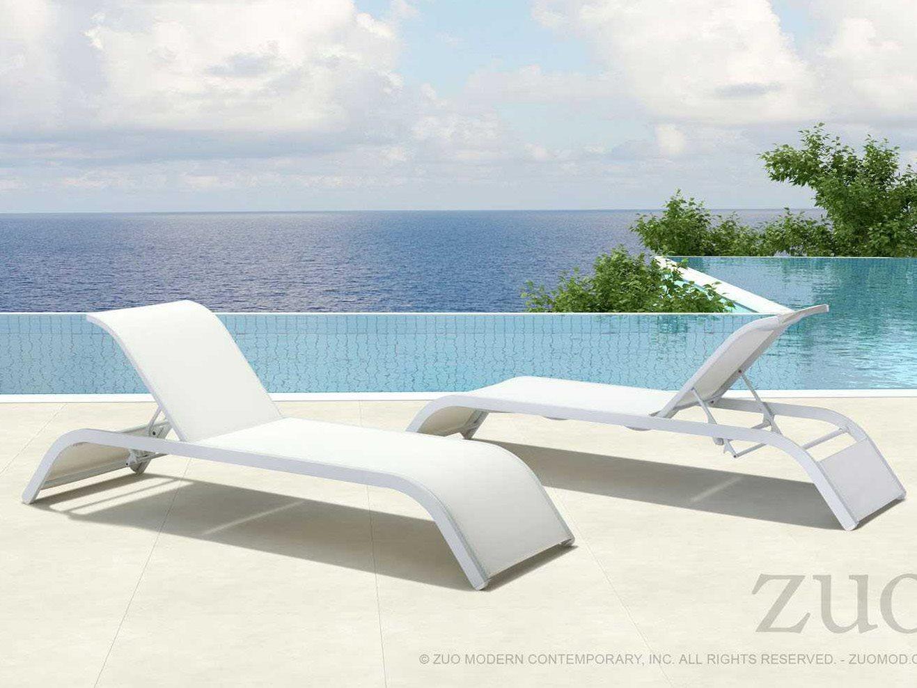 Zuo outdoor sun beach aluminum mesh chaise lounge set for Beach chaise lounges