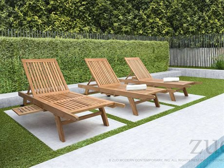 Zuo Outdoor Starboard Teak Chaise Lounge Set