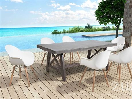 Zuo Outdoor Tidal Acacia Wood Dining Set in White