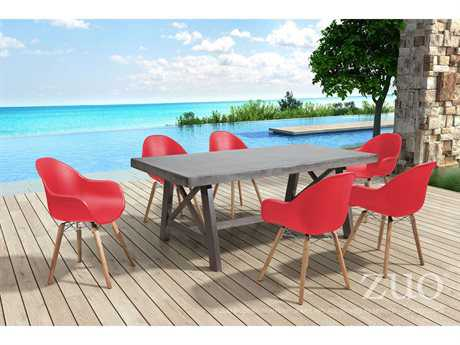 Zuo Outdoor Tidal Acacia Wood Dining Set in Red
