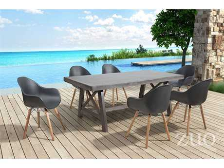 Zuo Outdoor Tidal Acacia Wood Dining Set in Black