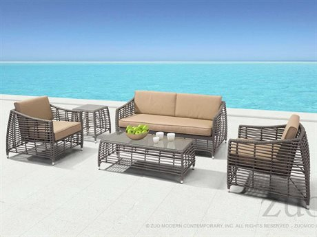 Zuo Outdoor Trek Beach Aluminum Wicker Lounge Set