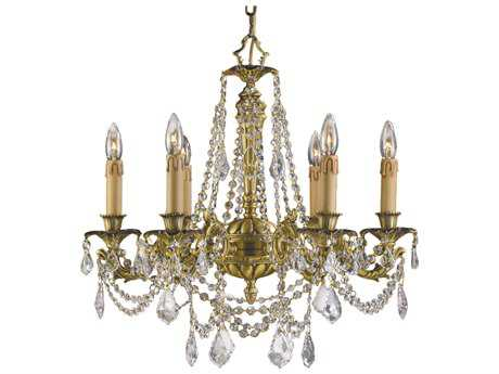 Zeev Lighting Leo Antique Brass Six-Light 23'' Wide Chandelier