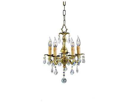 Zeev Lighting Austin Antique Brass Five-Light 12'' Wide Mini-Chandelier