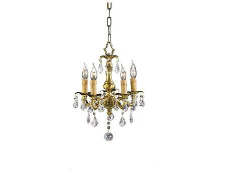 Zeev Lighting Austin French Gold Five-Light 12'' Wide Mini-Chandelier