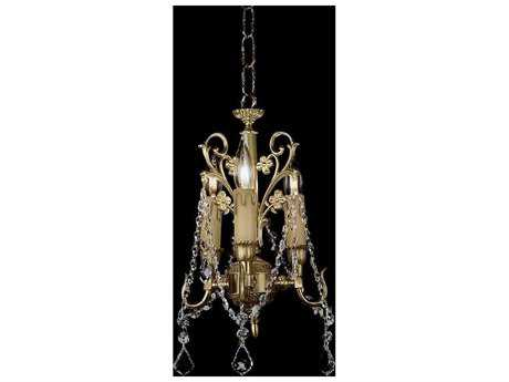 Zeev Lighting Waverly Antique Brass Three-Light 8.5'' Wide Mini-Chandelier