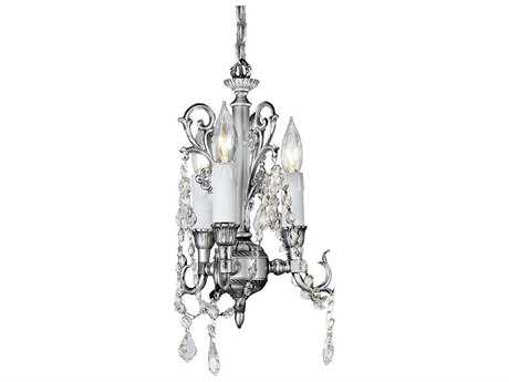 Zeev Lighting Waverly Antique Silver Three-Light 8.5'' Wide Mini-Chandelier