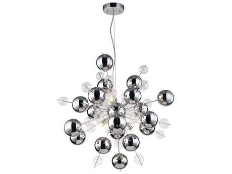 Zeev Light Proton Chrome Eight-Light 26'' Wide Pendant Light