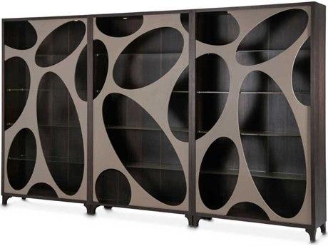 Aico Furniture Michael Amini 21 Cosmopolitan Pebble Grain Taupe / Umber Three-Piece Curio AIC9029505212
