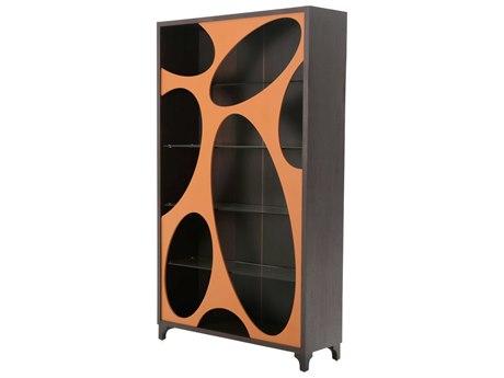 Aico Furniture Michael Amini 21 Cosmopolitan Diablo Orange / Umber Curio with Oval Cut -Out AIC9029505S812