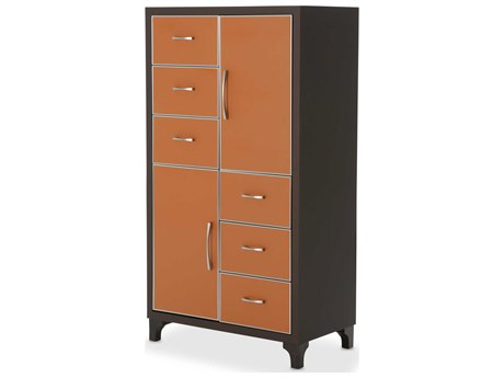 Aico Furniture Michael Amini 21 Cosmopolitan Umber / Diablo Orange Six-Drawer Chest of Drawer AIC9029070812