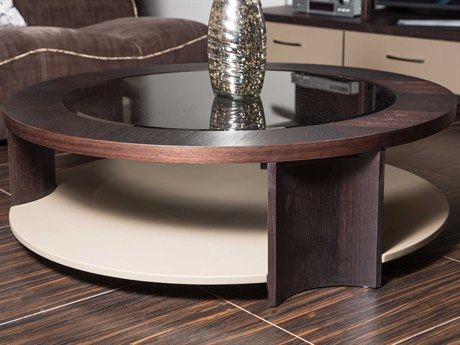 Aico Furniture Michael Amini 21 Cosmopolitan Glass with Umber / Pebble Grain Taupe 47'' Wide Round Cocktail Table