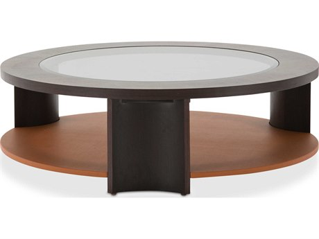 Aico Furniture Michael Amini 21 Cosmopolitan Glass with Umber / Diablo Orange 47'' Wide Round Cocktail Table