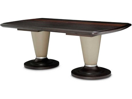 Aico Furniture Michael Amini 21 Cosmopolitan Glass with Umber / Pebble Grain Taupe 80-104''W x 44''D Rectangular Dining Table AIC9029002212