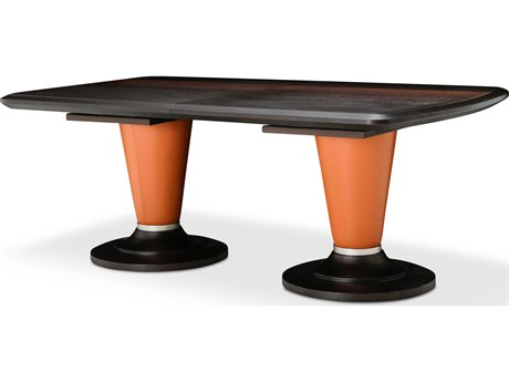 Aico Furniture Michael Amini 21 Cosmopolitan Umber / Diablo Orange 80-104''W x 44''D Rectangular Dining Table