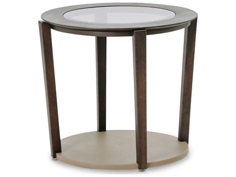 Aico Furniture Michael Amini 21 Cosmopolitan Glass with Umber / Pebble Grain Taupe 23'' Wide Round End Table