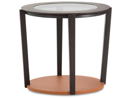 Aico Furniture Michael Amini 21 Cosmopolitan Glass with Umber / Diablo Orange 23'' Wide Round End Table