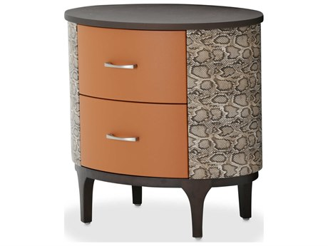 Aico Furniture Michael Amini 21 Cosmopolitan Umber / Diablo Orange 26''W x 19''D Oval Two-Drawers Bachelor Chest AIC9029042812