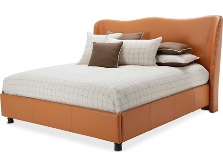 Aico Furniture Michael Amini 21 Cosmopolitan Diablo Orange Eastern King Size Platform Wing Bed AIC9029000EK812