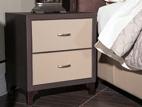 Aico Furniture Michael Amini 21 Cosmopolitan Umber /  Pebble Grain Taupe 24''W x 18''D Rectangular Two-Drawers Nightstand