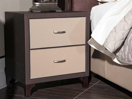 Aico Furniture Michael Amini 21 Cosmopolitan Umber /  Pebble Grain Taupe 24''W x 18''D Rectangular Two-Drawers Nightstand AIC9029040212