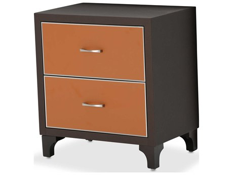 Aico Furniture Michael Amini 21 Cosmopolitan Umber / Diablo Orange 24''W x 18''D Rectangular Two-Drawers Nightstand