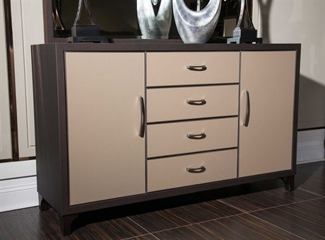 Aico Furniture Michael Amini 21 Cosmopolitan Umber / Pebble Grain Taupe Four-Drawer Triple Dresser