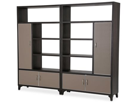 Aico Furniture Michael Amini 21 Cosmopolitan Pebble Grain Taupe / Umber Bookcase