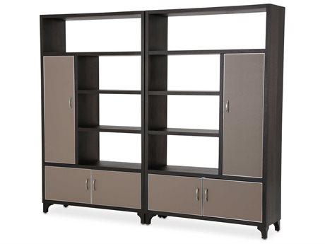 Aico Furniture Michael Amini 21 Cosmopolitan Pebble Grain Taupe / Umber Bookcase AIC9029098212