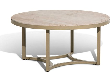 Aico Furniture Michael Amini Alta Travertine / Gold 38'' Wide Round Coffee Table AICFSALTA204