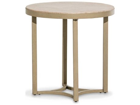 Aico Furniture Michael Amini Alta Travertine / Gold 23'' Wide Round End Table AICFSALTA224