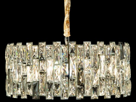 AICO Furniture Baguette Clear / Chrome 8-light 23'' Wide Crystal Pendant