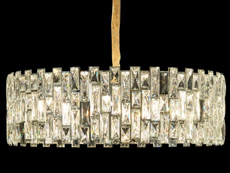 AICO Furniture Baguette Clear / Chrome 12-light 31'' Wide Crystal Pendant