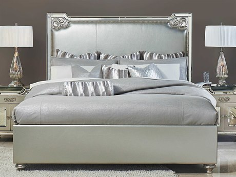 Aico Furniture Michael Amini Bel Air Park Champagne Eastern King Size Platform Bed