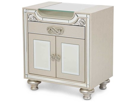 Aico Furniture Michael Amini Bel Air Park Champagne 26''W x 18''D Rectangular One-Drawer Nightstand AIC9002040201