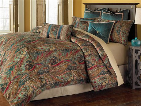 Aico Furniture Michael Amini Bella Veneto Seville Honey Nine-Piece Queen Comforter Set AICBCSQS09SEVILEHNY
