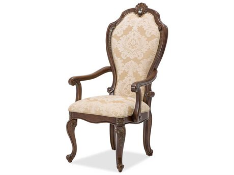Aico Furniture Michael Amini Bella Veneto Pearl / Cognac Dining Arm Chair AIC9051004202