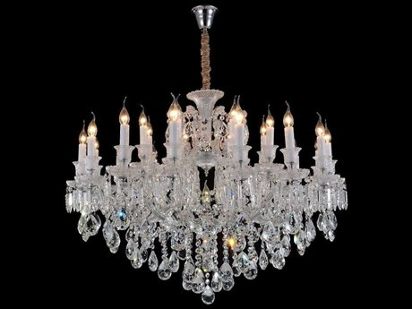 Aico Furniture Michael Amini Chambord Silver / Clear 19-Light 38'' Wide Chandelier AICLTCH90319CLR