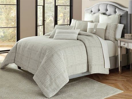 Aico Furniture Michael Amini Metro Lights Julianna Gray Nine-Piece Queen Comforter Set AICBCSQS09JULNAGRY