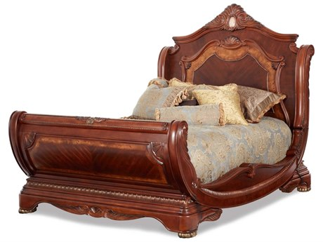 Aico Furniture Michael Amini Cortina Honey Walnut Eastern King Size Sleigh Bed