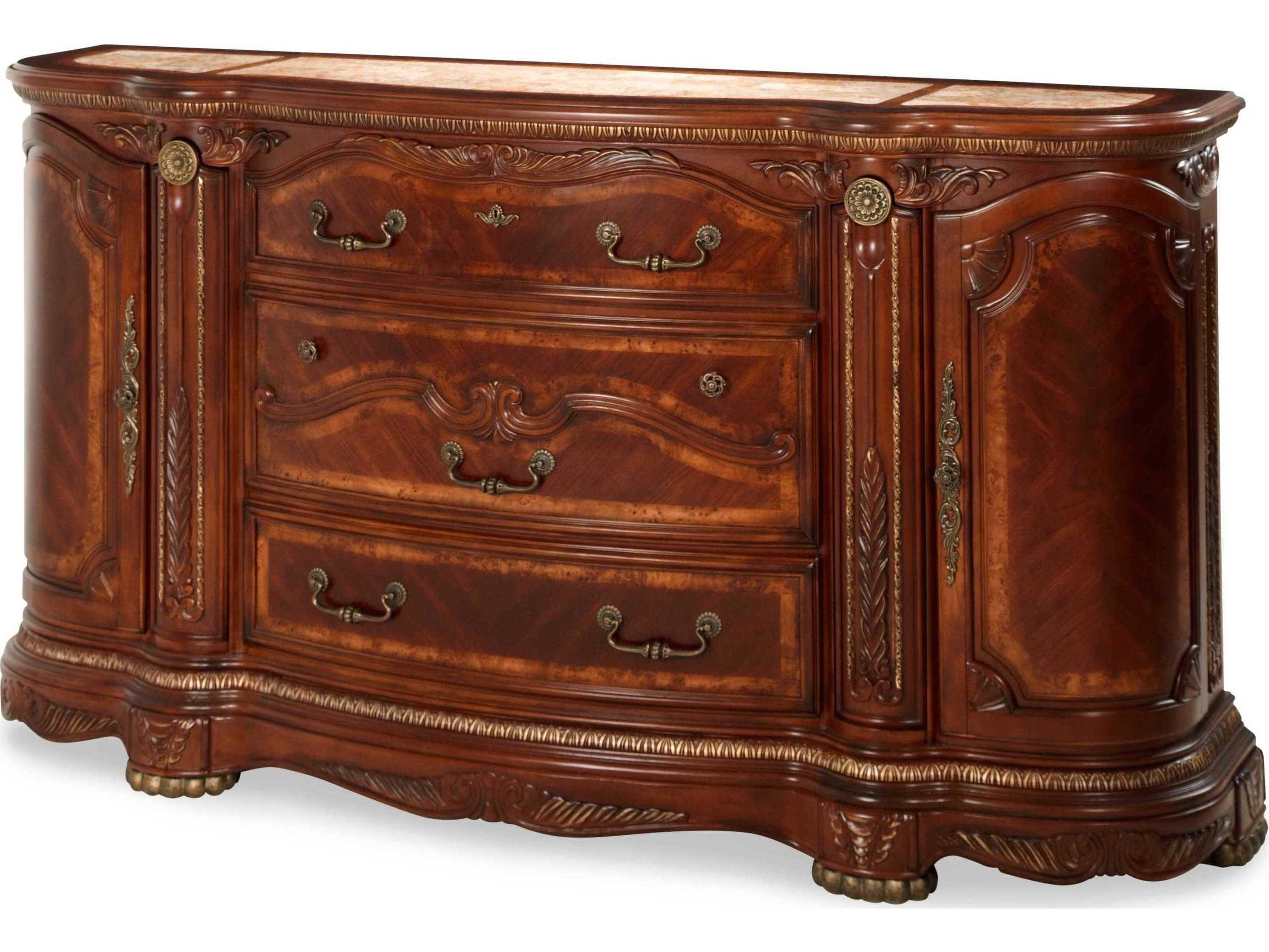Aico Furniture Michael Amini Cortina Honey Walnut Three-Drawer Triple  Dresser