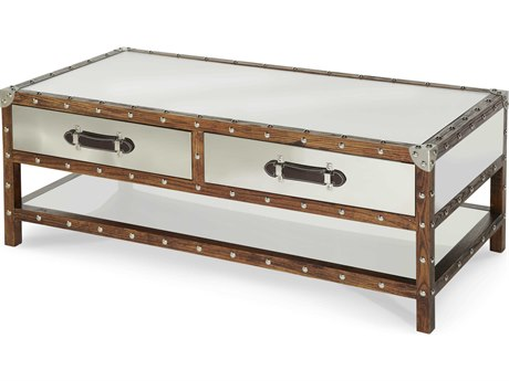 Aico Furniture Michael Amini Discoveries Accents Glass / Stainless Steel 51''W x 25''D Rectangular Coffee Table