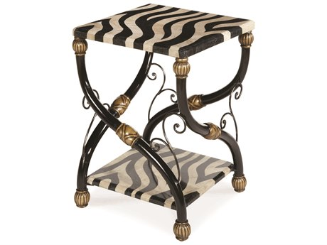 Aico Furniture Michael Amini Discoveries Accents Black / Pastor Stone 18'' Wide Square End Table