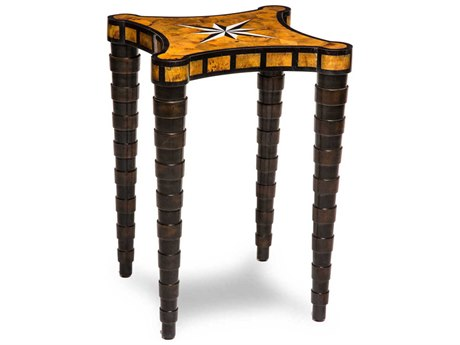 Aico Furniture Michael Amini Discoveries Accents Burl Marquetry 16'' Wide Square End Table